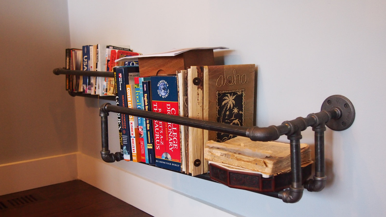 Mechanical Corner Pipe Bookshelves ! Home Decor
