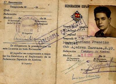 Ficha de Francino de la Federación Española 1962/63