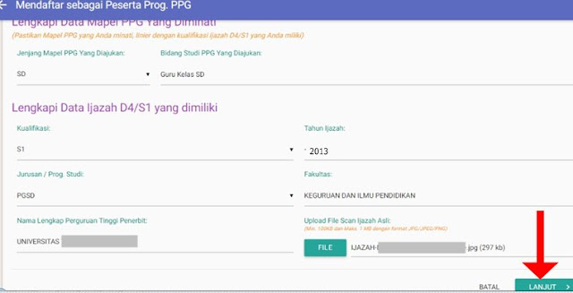 Lengkapi Data mapel PPG dan Data Ijazah