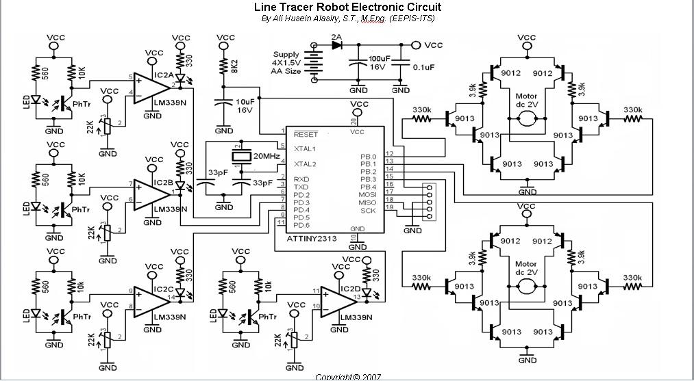 Line Tracer Robot Schematic