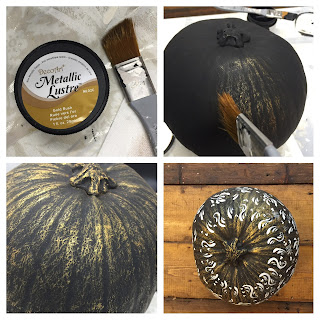 Dry brush the pumpkin with DecoArt metallic lustre