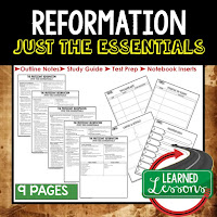 Reformation, World History Outline Notes, World History Test Prep, World History Test Review, World History Study Guide, World History Summer School Outline, World History Unit Overview, World History Interactive Notebook Inserts