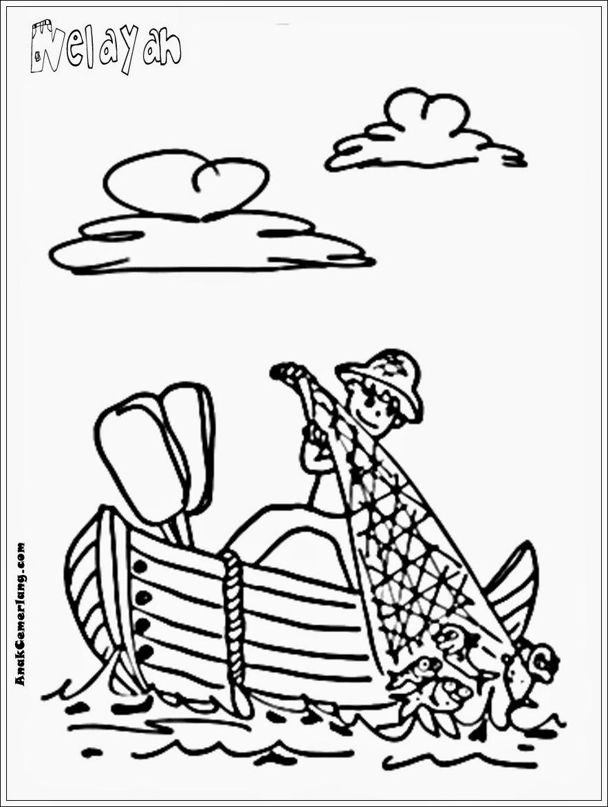 Gambar Mewarnai Profesi Nelayan