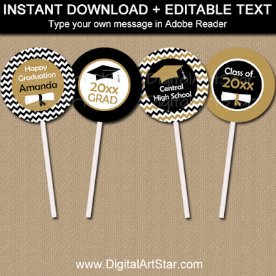 printable graduation cupcake toppers - black and gold chevron with diplomas
