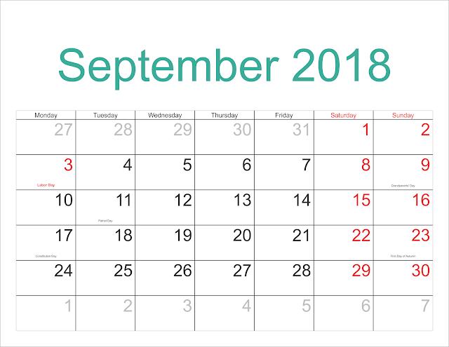 Blank September Calendar 2018, September 2018 Blank Calendar, 2018 September Blank Calendar, September 2018 Printable Calendar, September 2018 Calendar Printable
