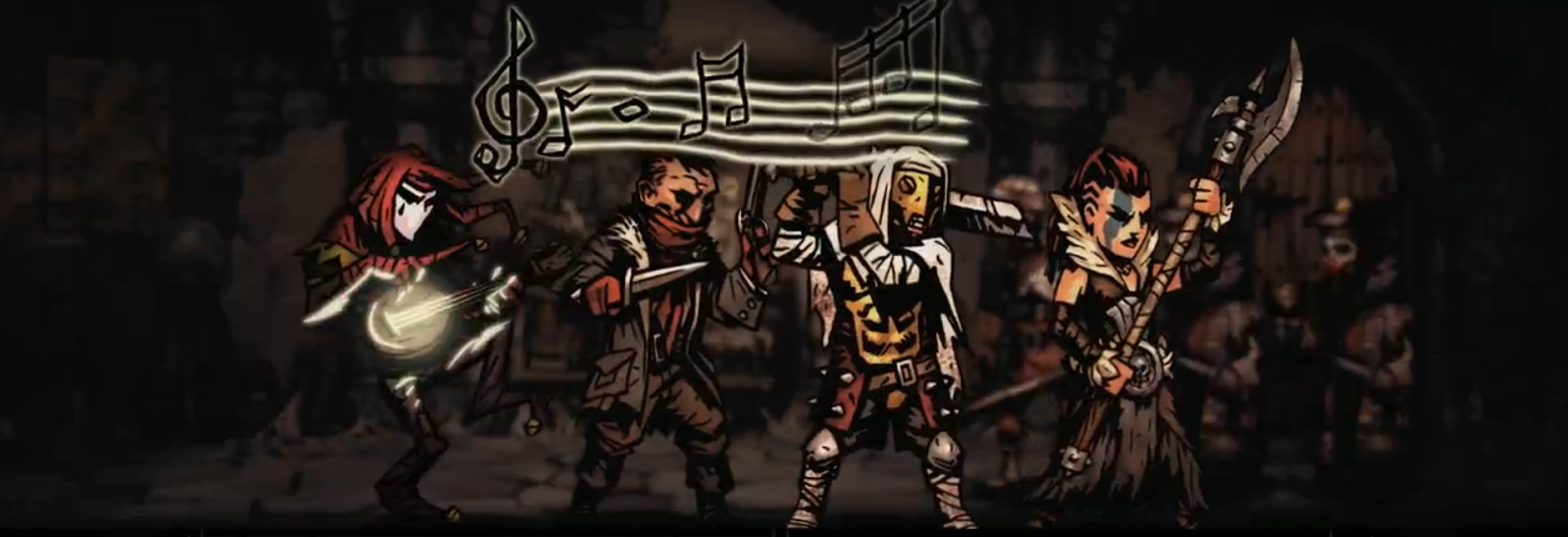 A line-up of Darkest Dungeon character types, with the Jester doing his thing on the far left