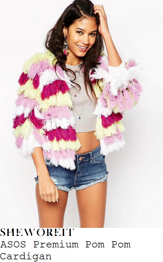 ferne-mccann-asos-premium-pink-lilac-yellow-white-pom-pom-tassel-cardigan