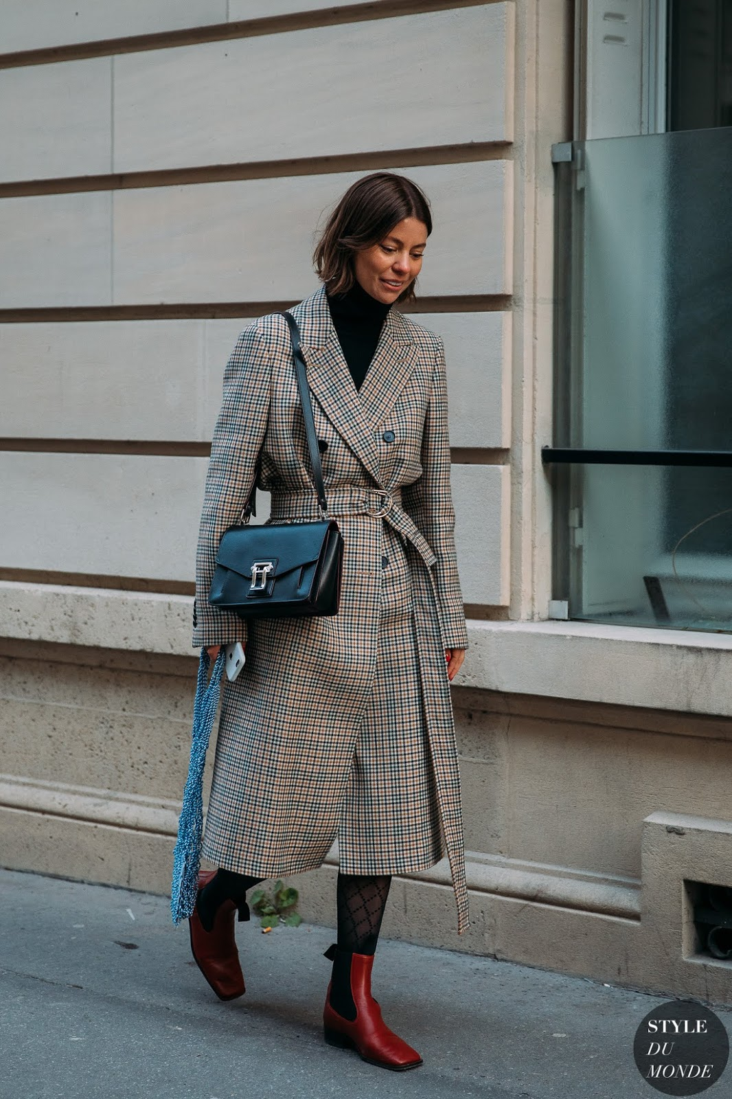 25 Street Style-Worthy Plaid Coats – Annina Mislin, Belted Coat