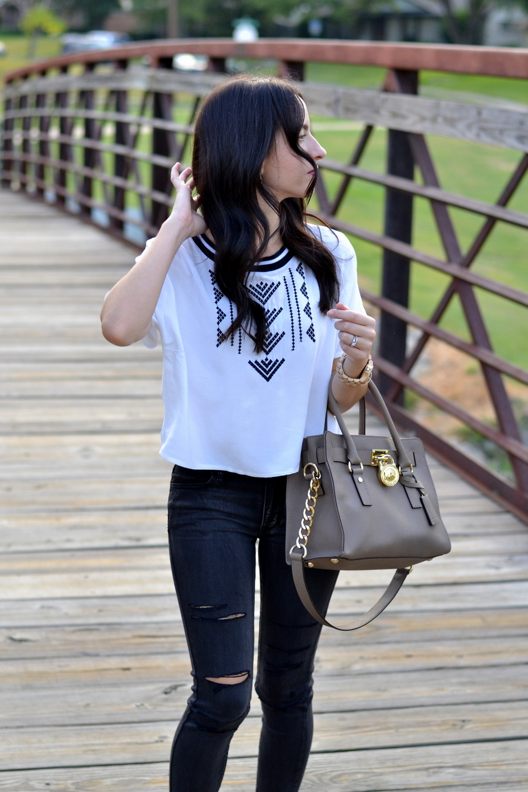 Michael Kors Bag, Ripped Jeans, Black Denim, White Crop Top