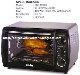oven listrik kirin kbo 190ra dan spek