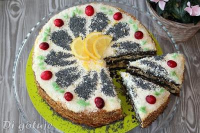 Tort z masy makowej (z kremem budyniowo-maślanym i nutą cytryny)