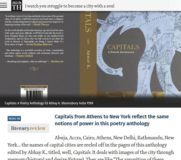 Abhay K  Poet-Diplomat, Editor| Tweets @theabhayk: CAPITALS reviewed
