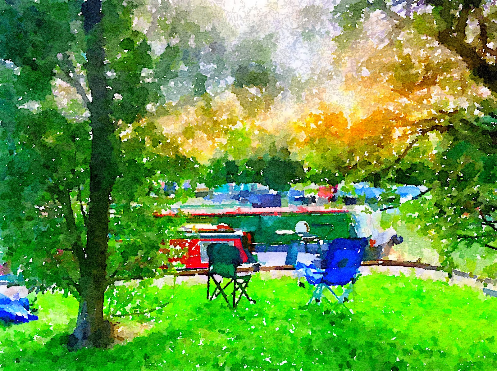 A digital watercolour of a scene at Gayton Marina