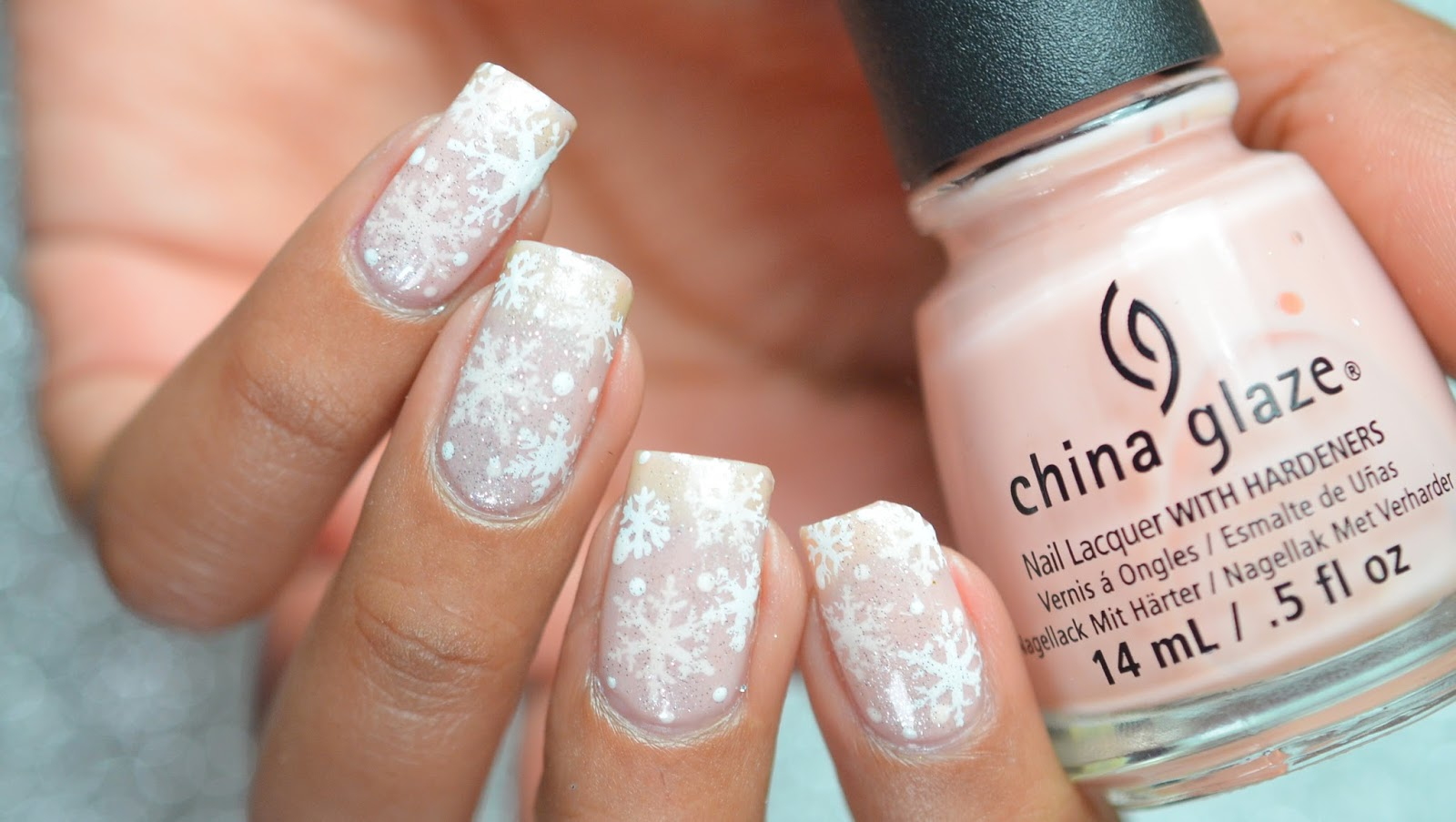 How To how to make snowflake nail art : Pond Snowflake Nail Art using Harunouta plate L001 ~ Lifeisnails