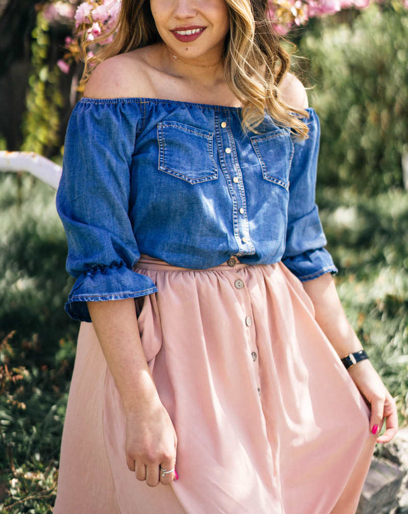 chambray shirt, off the shoulder shirt, spring clothes