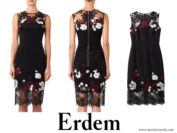 Countess Sophie wore Erdem Kent Floral Lace Satin Dress