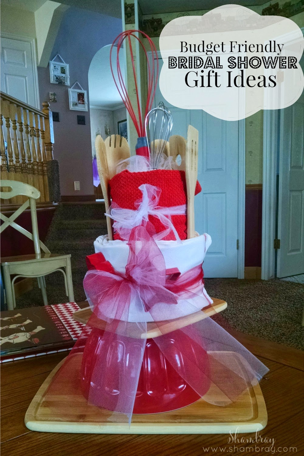 Cheap Bridal Shower Gift Basket Ideas : kitchen, towels, dish clothes, wooden spoon, whisk