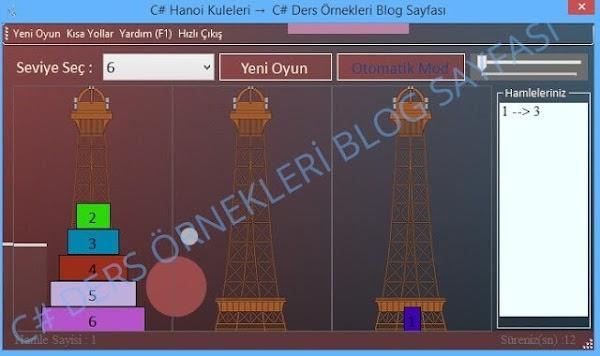 C# Hanoi Kuleleri Oyunu