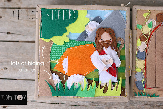 Bible quiet book, church busy book, handmade fabric Bible story, the good shepherd