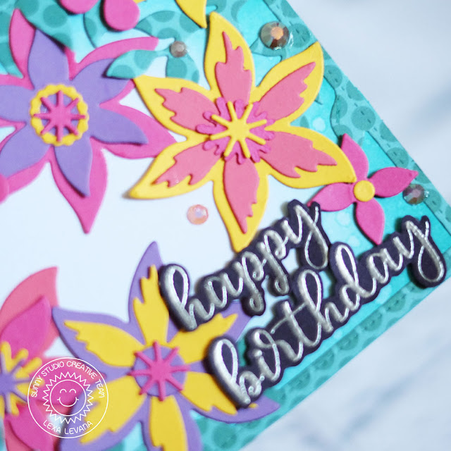 Sunny Studio Stamps: Botanical Backdrop Dies Everyday Greetings Happy Birthday Card by Lexa Levana