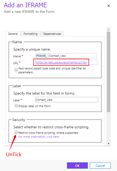 Microsoft Dynamic CRM: Showing external website in IFrame in