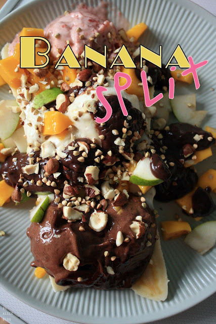 banana split, banana, chocolate, strawberry, vanilla, ice cream, dessert, vegan