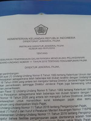 raden agus suparman : Intruksi Dirjen Pajak tentang Kebijakan Pemeriksaan Dalam Rangka Mendukung Pelaksanaan Amnesti Pajak