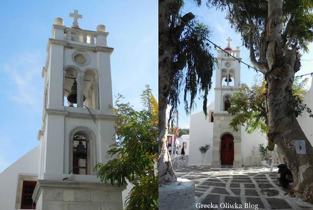dzwonnice na wieży kościelnej Mykonos, cerkiwe