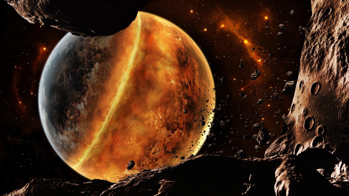 fire planet space wallpaper - photo #21