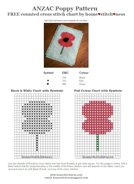 free ANZAC poppy Australia New Zealand cross stitch chart by homestitchness