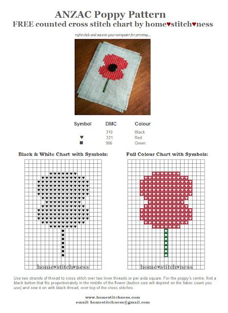 free ANZAC poppy Australia New Zealand cross stitch chart by homestitchness