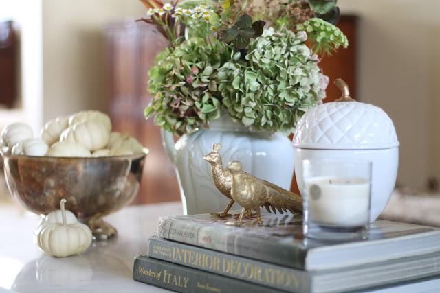 fall coffee table hydrangeas silver bowl pheasants