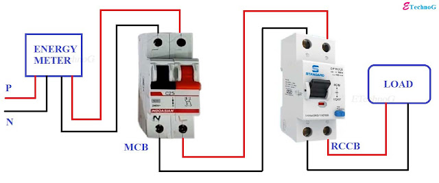 Proper RCCB connection Diagram with MCB.2 pole rccb connection diagram.