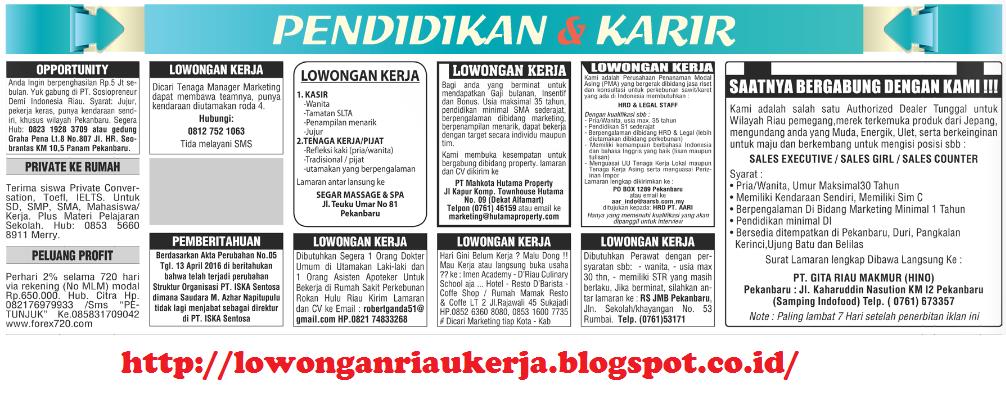 Info Loker Pekanbaru Riau Pos Tanggal 29 Img Lowongan Kerja Riau