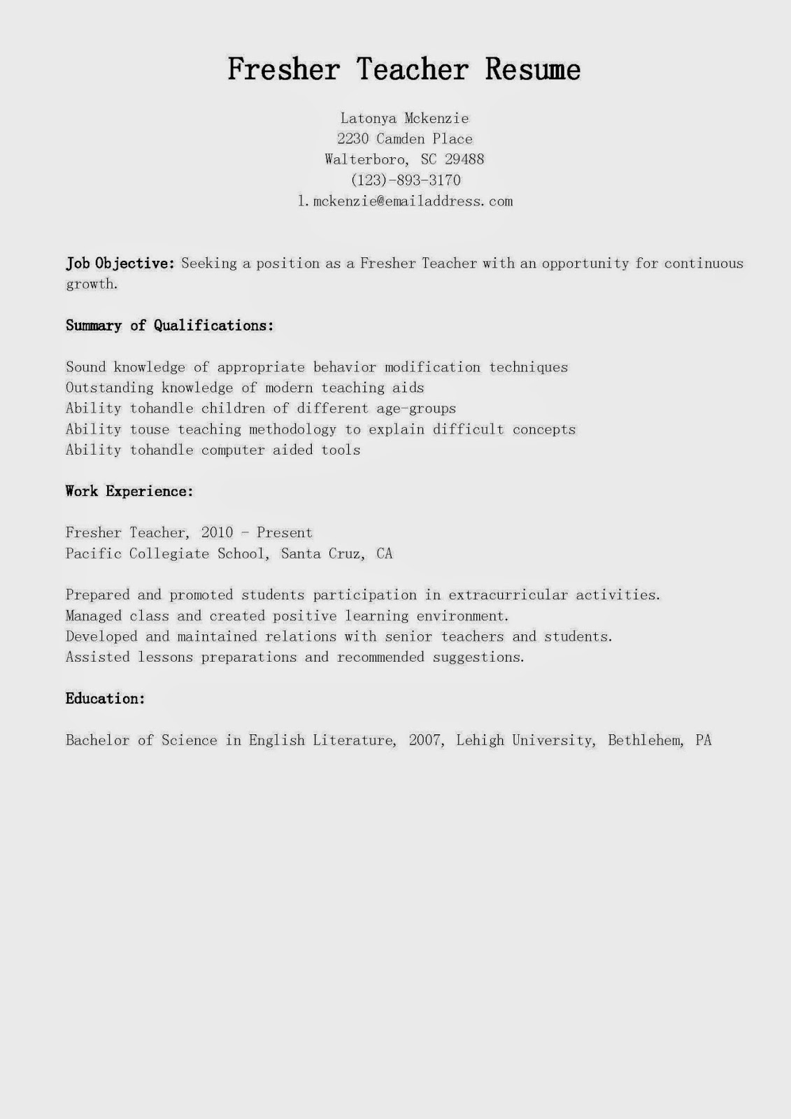 Resume samples fresher teacher resume sample for Sample resume for teaching profession for freshers