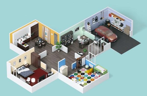 61 Gambar 3D Denah – Sketsa Rumah Minimalis Eksklusif