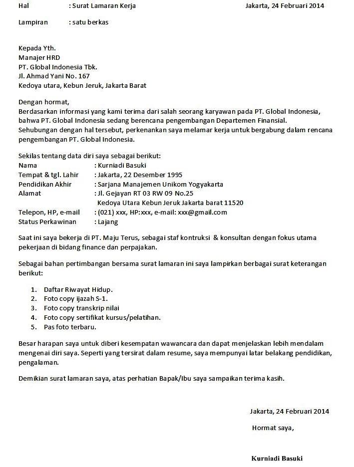 9 contoh surat lamaran kerja formal ben jobs