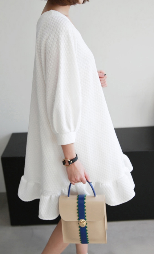 Textured Pattern V-Neck Tent Dress