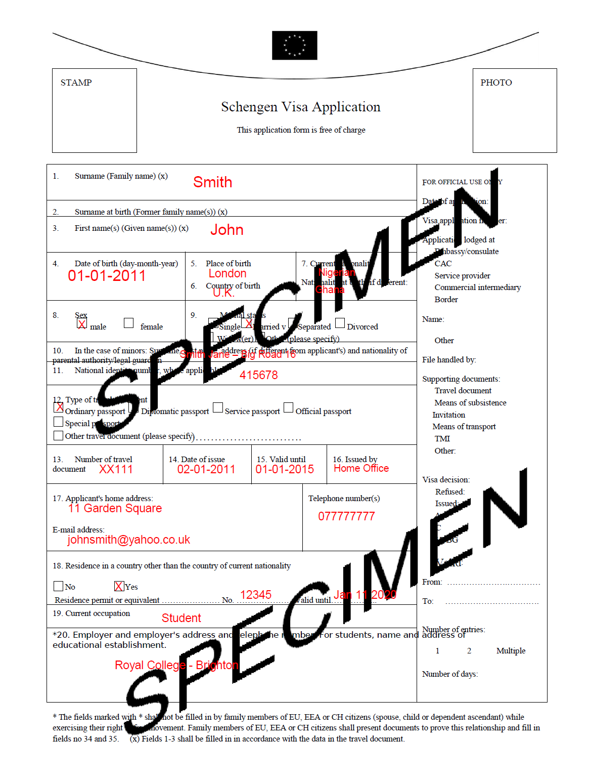 schengen visa information centre sample filled out application form