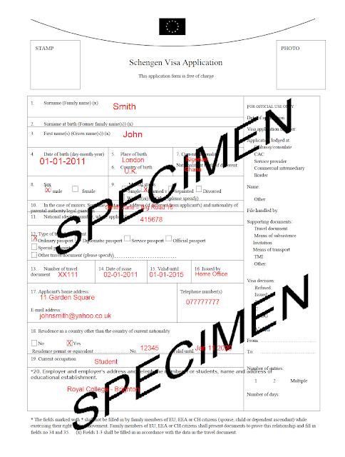 Schengen Visa Information Centre: Sample filled out