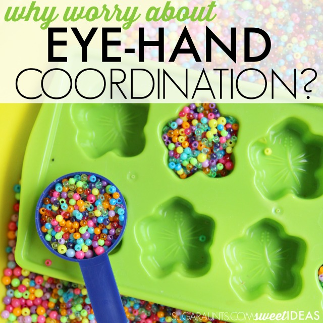"What is eye-hand coordination and how does this skill impact ""big picture"" tasks like reading, writing, fine motor skills, and gross motor skills?  This easy, low-prep eye hand coordination activity can help."