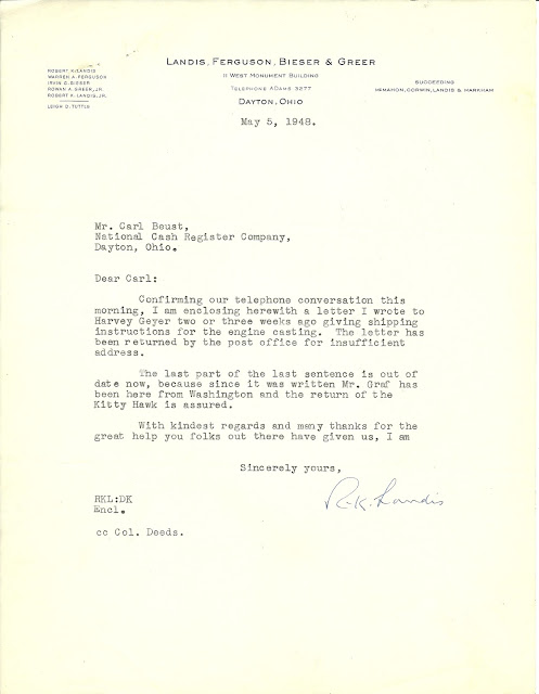 Wright 1903 Flyer confirmation of return letter, 1948