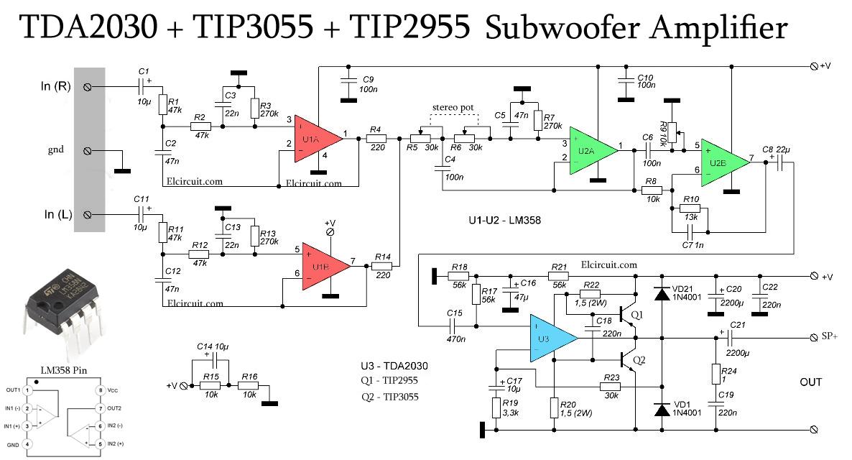 subwoofer amplifier using tda2030 + tip3055 tip2955 ... tda2050 subwoofer amplifier circuit diagram