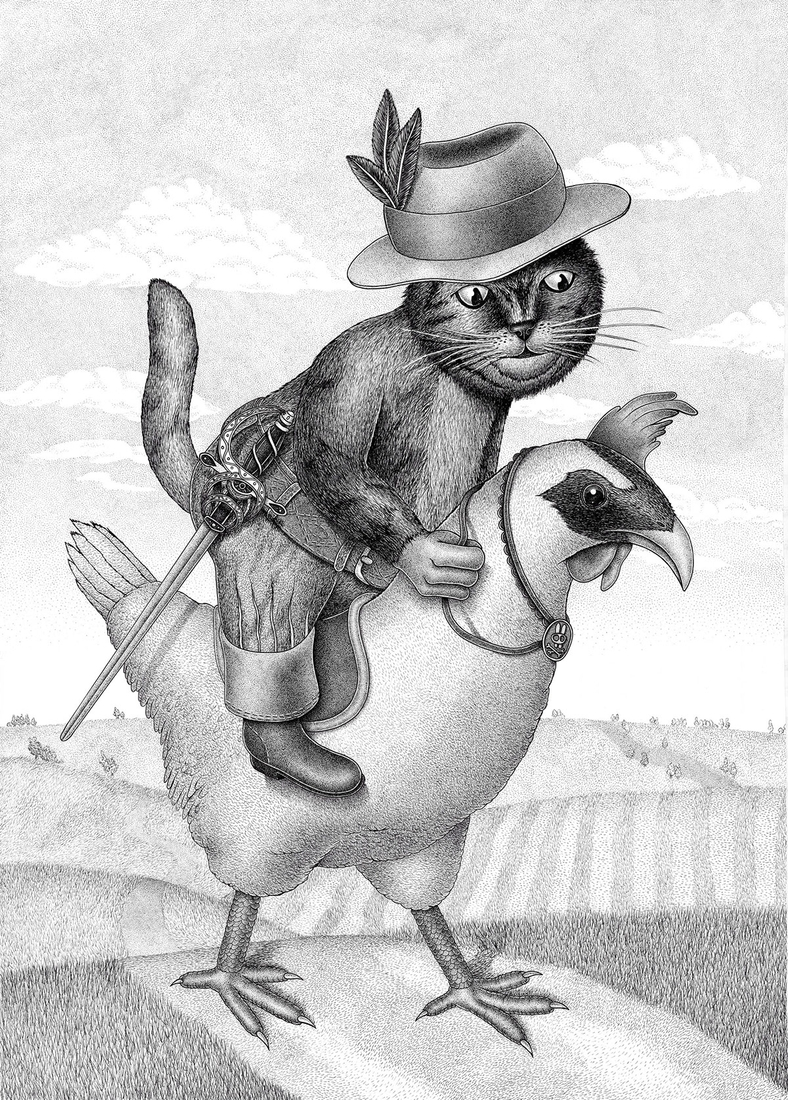 08-The-Horse-Cat-Dzmitryi-Kashtalyan-Drawings-using-the-Stippling-Technique-www-designstack-co