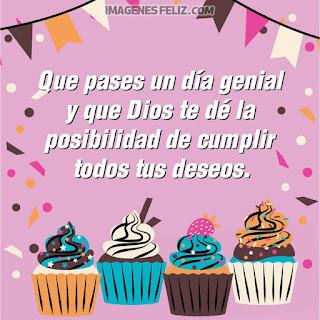 Imágenes feliz cumpleaños. Tarjetas con dibujos de deliciosos cupcakes,  y mensajes bonitos para compartir