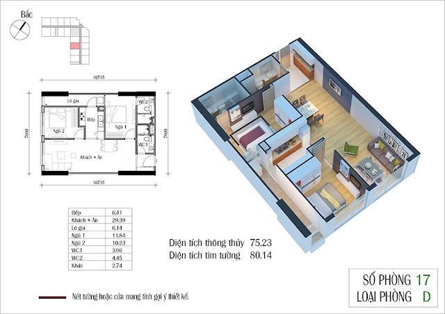 Thiết kế căn hộ số 17 tòa CT2 Eco Green City