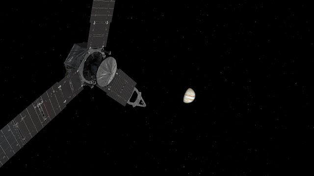 This illustration depicts NASA's Juno spacecraft approaching Jupiter. Credits: NASA/JPL-Caltech