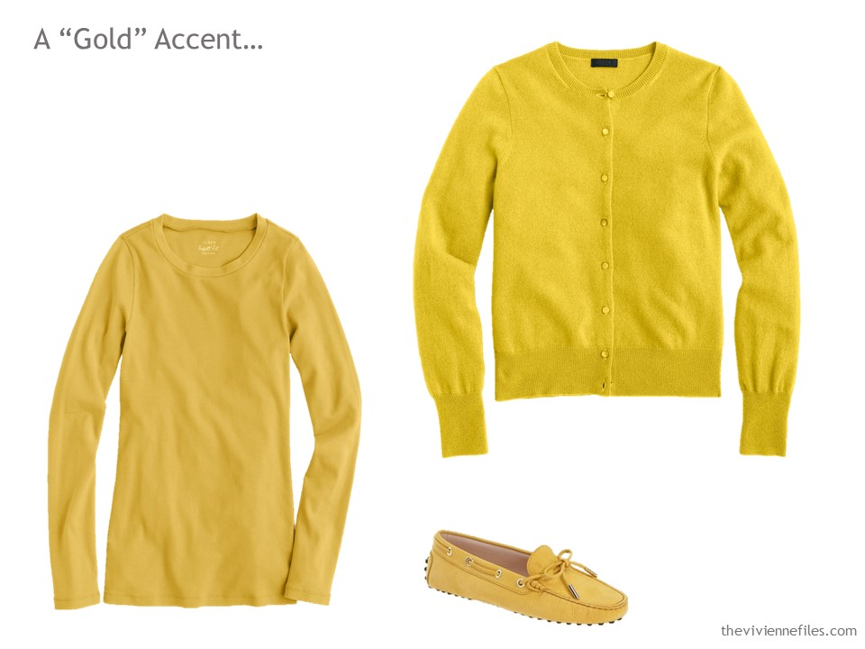 A Tee Shirt Cardigan And Pair Of Loafers In Mustard Gold