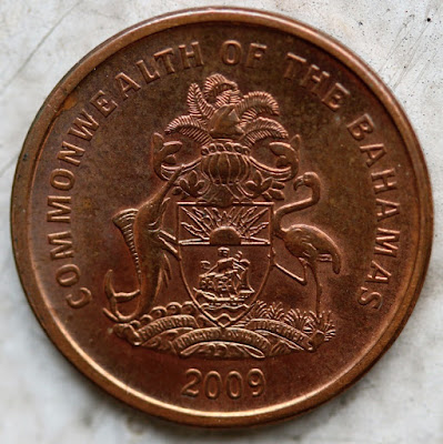 Obverse of a 2009 cent from Commonwealth of the Bahamas