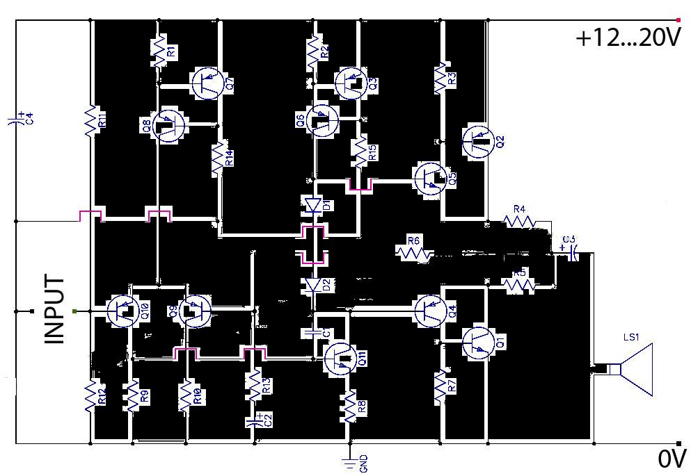 Ab Transistor Audio Power Amplifier Circuit Diagram